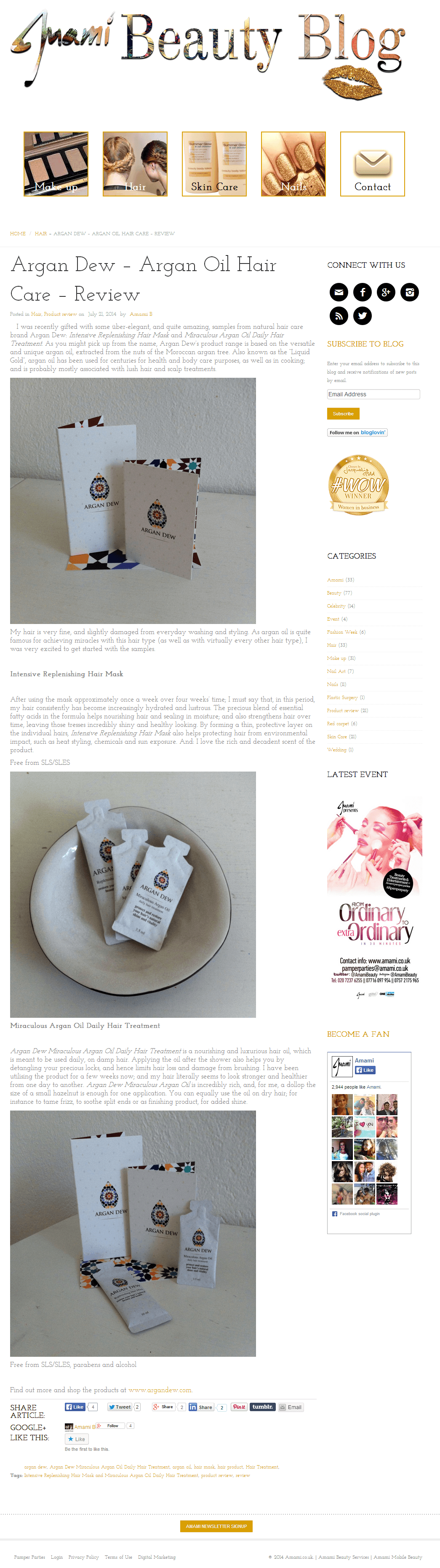 Argan dew review from Juami beauty blog